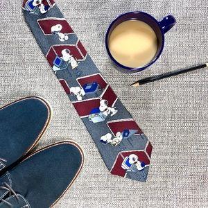 Silk Peanuts Snoopy Tie 0 Blue, Gray, Burgundy